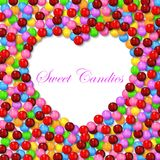 Love background with various sweet candy on frame. Illustration of Love background with various sweet candy on frame Royalty Free Stock Photo
