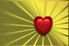 Love background vector illustration. Love background red heart on gold background with rays Royalty Free Stock Photos