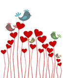 Love background3. The bird sings sitting on heart. A  illustration Royalty Free Stock Photo