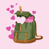 Love Backpack. Love and hearts is in the backpack vector Royalty Free Stock Photo