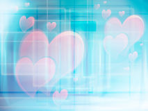 Love backround. A blue background with pink hearts symbolizing love Royalty Free Stock Photo