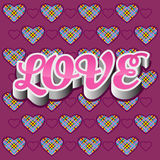 Love backround. Love 3D pink text on purple background with hearts Royalty Free Stock Photography