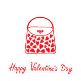 Love bag with hearts. Happy Valentines Day card. Stock Photography