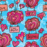Love balloon fly draw seamless pattern Royalty Free Stock Image