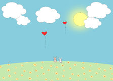 Love balloon and romantic bunnies Stock Photography