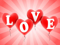 Love balloons 3d illustration Stock Photos