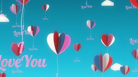 Love Balloons Background Animation for Valentines Day and Wedding. stock video footage