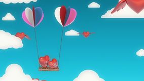 Love Balloons Background Animation for Valentines Day and Wedding. Swinging Love Balloons Background Animation Created for Broadcast, Commercials, Presentations stock footage