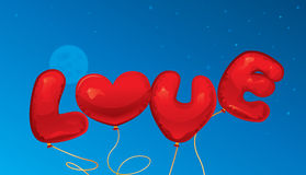 Love balloons. Text and heart shape Stock Image