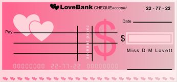 Love bank. Generic cheque account from the bank of love Stock Photography