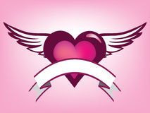 Love banner. Abstract illustration of heart with wings and place for text royalty free illustration