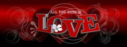 Love banner. With 3d text. design element vector illustration
