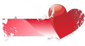 Love banner. Love grungz banner with big heart design Royalty Free Stock Photography