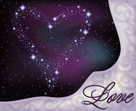 Love banner, heart of the stars in the night sky Stock Image