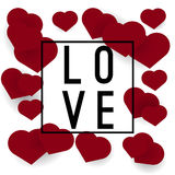 Love banner or poster with hearts. On white background Stock Photography