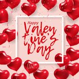 Love banner with red balloon hearts on pink background. Text Happy Valentine`s Day. Vector holiday card graphic design Stock Image