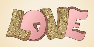 Love banner vector. Hand drawn. Design for wedding. February 14. Heart. Valentine`s day greeting card. Gold and pink colors. Glitter texture vector illustration