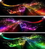 Love Banners. Flying hearts Valentines day or Wedding background Vector Illustration