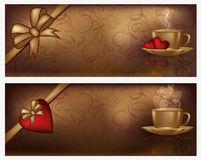 Love banners with coffee Royalty Free Stock Images