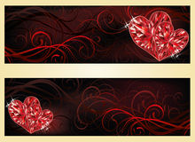 Love banners with two ruby hearts Stock Photos
