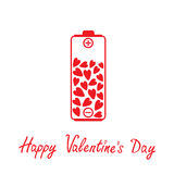 Love battery with hearts inside. Happy Valentines  Stock Photography