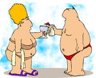 Love at the beach. This illustration depicts an overweight couple at the beach Royalty Free Stock Photography