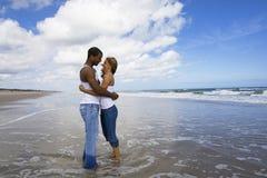 Love on a beach stock photos