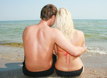 Love in beach. An ttractive pair, on a beach,love Stock Photos