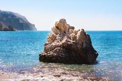 Love beach. Aphrodite`s Rock - Aphrodite`s birthplace near Paphos City. The rock of the Greek Petra tou Romiou. Cyprus island Royalty Free Stock Image