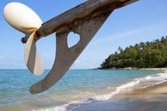 Love beach. The love boat on the beach Stock Image