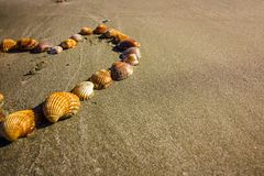 For the love of the beach, holidays and travel, a heart shape shells on the beach royalty free stock photo