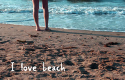 Love beach message Royalty Free Stock Images