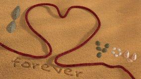 Love, Beach, Sand, Rope, Shell, 3D Royalty Free Stock Photos