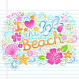 Love the Beach Tropical Summer Hawaiian Vacation D. I Love the Beach Tropical Summer Vacation Sketchy Notebook Doodles with Hibiscus Flower, Flip-Flops, and Sea vector illustration