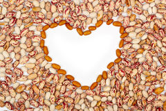 Love beans. Framework from beans in the form of heart Stock Photography