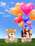 Love bear with heart balloons Royalty Free Stock Image