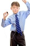 Love the beat. A student takes some time out listing to music Royalty Free Stock Photography