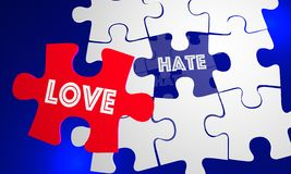 Love Beats Hate Puzzle Piece Filling Hole. 3d Illustration Stock Photography