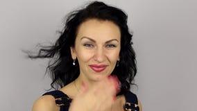 Love beautiful girl sends an an air kiss stock video