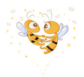 Love bees. Dance in the air two lovers bees vector illustration