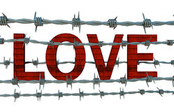 Love behind barbed wire Royalty Free Stock Photography