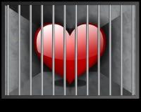 Love behind bars. A red heart behind bars Royalty Free Stock Image