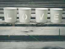 Love being spelled. By the use of porcelain object Royalty Free Stock Image