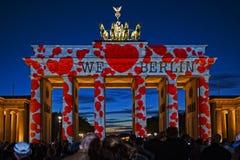 We love Berlin. Brandenburg Gate with illumination we love Berlin Stock Images