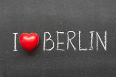 Love Berlin. I love Berlin phrase handwritten on chalkboard with heart symbol instead of O Stock Photos