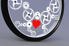Heart in a rotating gear Royalty Free Stock Photos