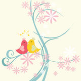 Love bird. Cherry blossom tree and birds royalty free illustration