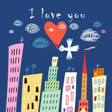 Love bird on a background of the city Stock Images