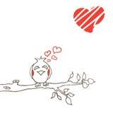 Love bird on branch. Line art. Hand-drawing. cartoon vector illustration