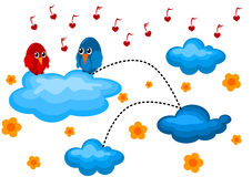 Love Bird in a Cloudy Garden. Two birds on a cloudy garden. The blue Bird is singing a love song to the red bird with heart shaped notes Stock Photos